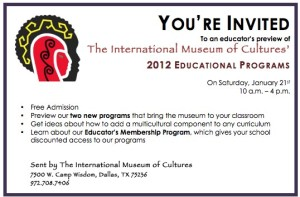Invitation to Educator's Day at the Intenrational Museum of Cultures